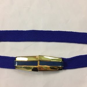 Vintage St. John knit blue belt enamel gold buckle